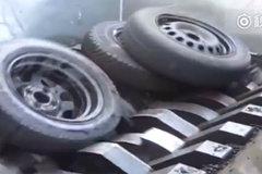 轮胎回收再利用,能把钢丝线勾出来也是厉害了!